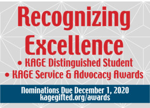 Kentucky Association for Gifted Education 2020 KAGE Excellence Awards